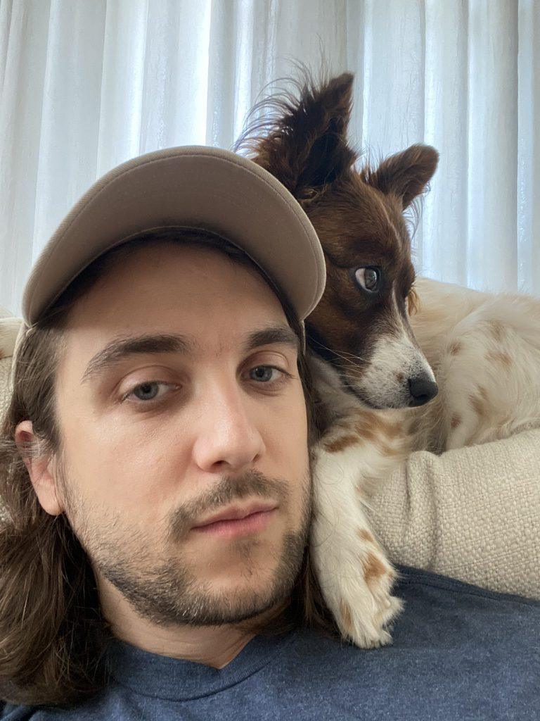 Nicolas Cole and his dog