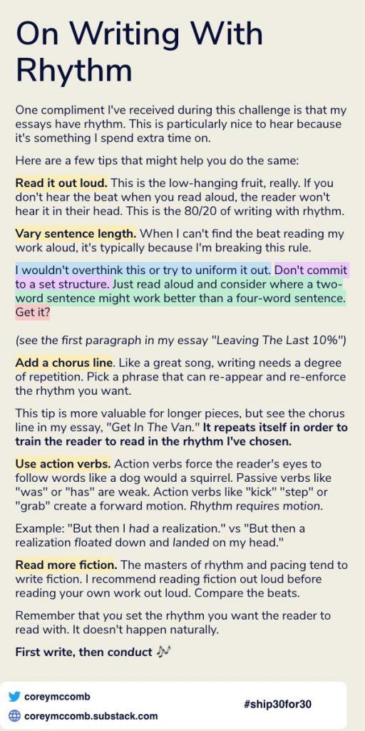 writing advice from corey mccomb